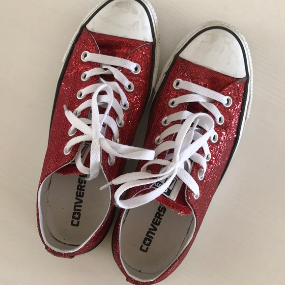 8277761abb98 Converse Shoes - Red Glitter Chucks